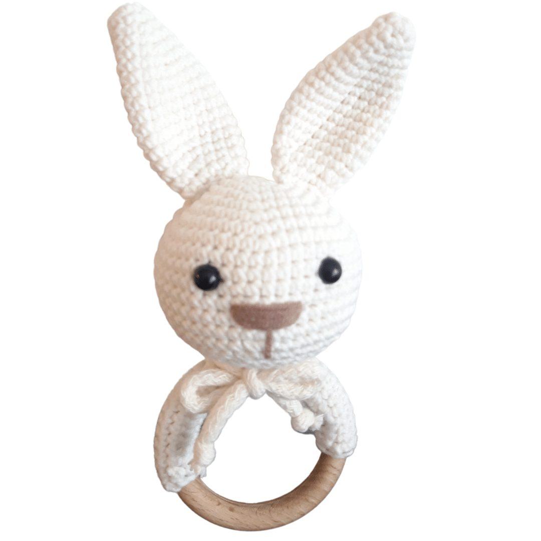 Kremowy króliczek grzechotka