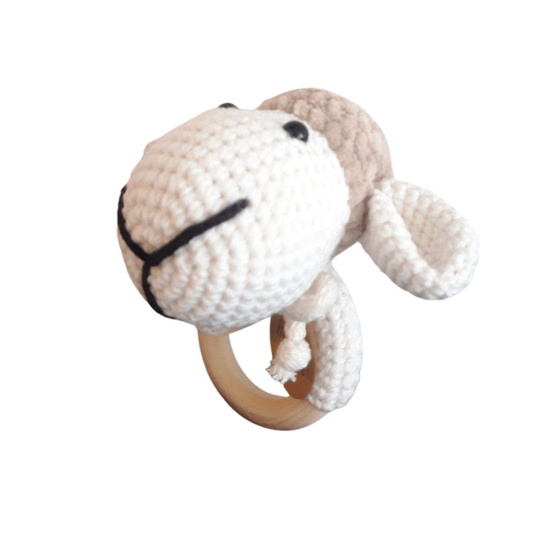 Owieczka biało-brązowa grzechotka